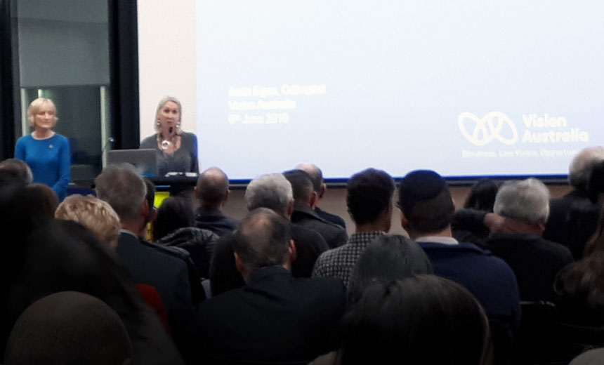 Wendy Drummond and Anita Egan from Vision Australia presenting to Victorian optometrists as part of Vision Eye Institute's Camberwell CPD event at Vision Australia's head office in Hawthorn.